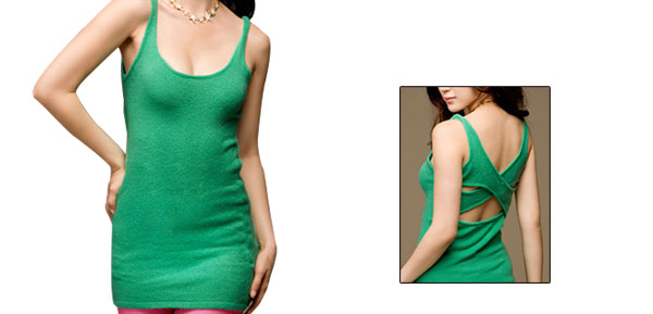 Sexy Women Softness Sleeveless Crossover Back Casual Tunic Shirts Green XS