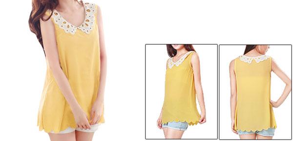 Allegra K Ladies Yellow Crochet Peter Pan Collar Semi Sheer Chiffon Tank Top S