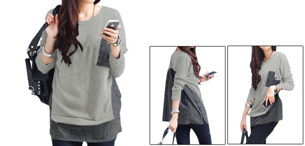 Lady Light Gray Dolman Sleeve Pullover Buttons Decor One Pocket Top Tunic Shirt S
