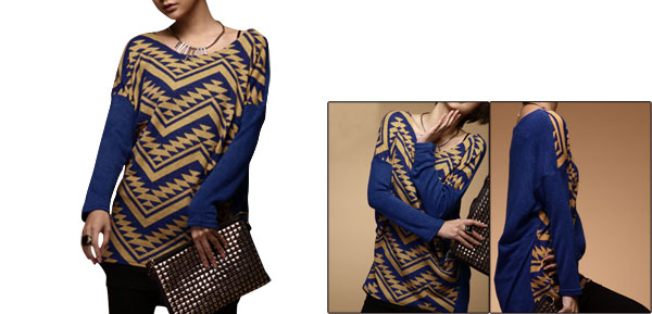 Women Geometric Prints Warm Stretch Batwing Winter Tunic Shirt Blue S