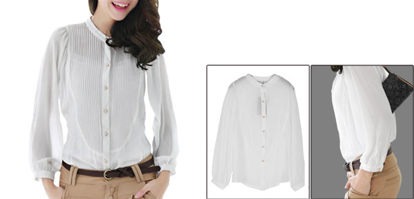 Ladies Stand Collar Batwing Long Sleeves Buttons Up Chiffon Shirt White XS