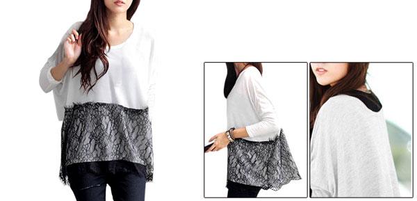 Ladies Lace Embellished Long Sleeve Round Neck Chic Shirts Black White S