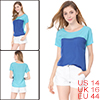 Women Blue Scoop Neck Short Sleeve Contrast Color One Pocket Chif...