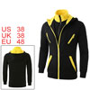 Mens Slim Fit Double Zipped Long Sleeve Stand Collar Fleece Hoodi...