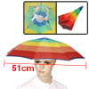 Outdoor Fishing Camping Portable Rainbow Colored Umbrella Hat Cap