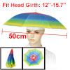 Elastic Headband Polyester Canopy Rainbow Colored Umbrella Hat Cap for Fishing