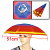 White Stretch Headband Polyester Canopy Rainbow Umbrella Hat Cap for Fishing