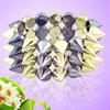 Two Tone Cone Stud Rivet Detailing 3 Row Plastic Elastic Bracelet...