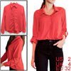 Ladies Red Convertible Sleeves High Low Hem Casual Spring Shirt X...