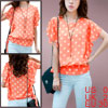 Ladies Orange Ruffled Sleeves Casual Dots Pattern Pullover Chiffon Shirt Xs