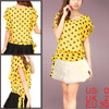 Ladies Yellow Scoop Neck Dots Pattern Casual Pullover Chiffon Shi...