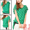 Ladies Grass Green Dots Pattern Pullover Lined Summer Chiffon Shi...