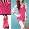 Ladies Sleeveless Rhinestone Chic Spaghetti Strap Tank Tops Pink ...