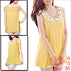 Lady Yellow Crochet Peter Pan Collar Sleeveless Scalloped Hem Semi Sheer Tank Top S