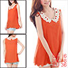 Ladies Watermelon Red Sleeveless Scalloped Trim Semi Sheer Tank T...