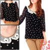 Ladies Black Short Sleeves Semi Sheer Casual Chiffon Shirt S