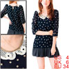 Ladies Dark Blue Doll Collar Embroidery Detail Casual Pullover Sh...
