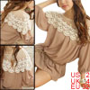 Ladies Apricot 3/4 Sleeves Pullover Embroidery Detail Chiffon Shi...