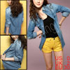 Ladies Denim Blue Point Collar Button Closure Casual Spring Shirt...