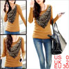 Lady Dark Yellow Scoop Neck Long Sleeve Stretchy Detachable Leopa...