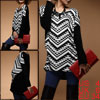 Ladies Fashionable Scoop Neck Pullover Geometric Prints Tunic Shirt Black S