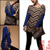 Women Geometric Prints Warm Stretch Batwing Winter Tunic Shirt Bl...