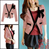 Women Flouncing Ruffled Text Tight Cuff Fashion Chic Blazer Pink ...
