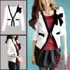 Women Knot Bust Long Sleeve Skinny Cuff Textured Casual Blazer Wh...