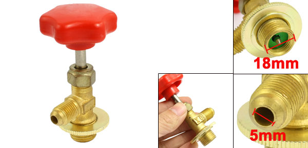Red Gold Tone Screw On Can Tap Valve Bottle Opener for R12 Refrigerant