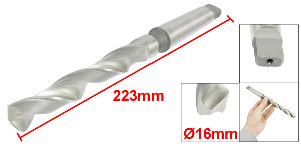 High Speed Steel 16mm Cutting Diameter Taper Shank Twist Drill Bit w Tang