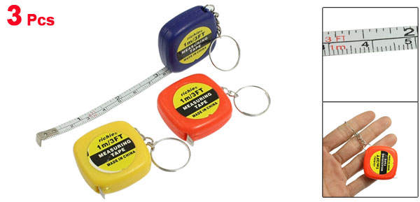 3 Pcs Keys Holder Measuring Tool 1 Meter 3 Feet Mini Tape Measure w Key Ring