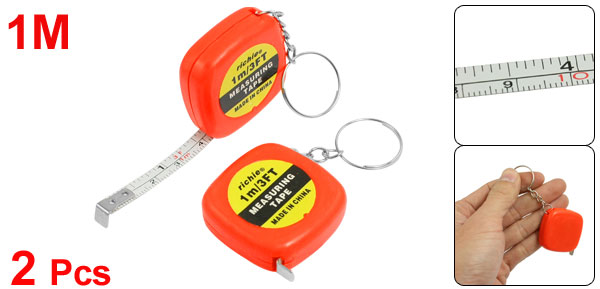 2 Pcs Multifunction Orange Red Case 1 Meter 3 Feet Mini Tape Measure w Key Ring