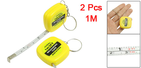 2 Pcs Yellow Keys Holder Measuring 1 Meter 3 Feet Mini Tape Measure w Keyring