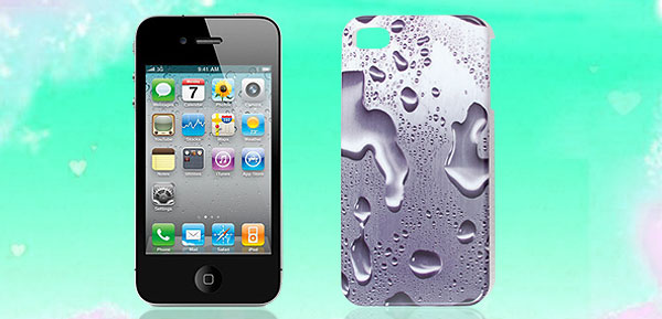 Raindrop Print Purple Plastic IMD Back Cover Case for iPhone 4 4G 4S