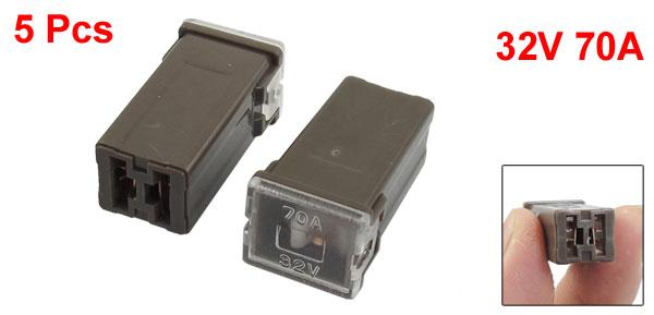 Brown 70A 32V J Case Female Adapter  in Blade Cartridge PAL Fuse 5 Pcs
