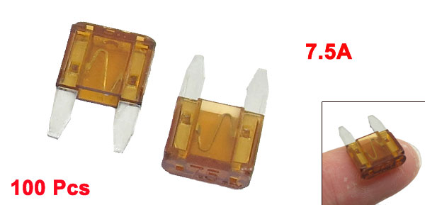 100 Pcs Plastic Housing 7.5A Vehicle Car Auto Blade Fuses Brown