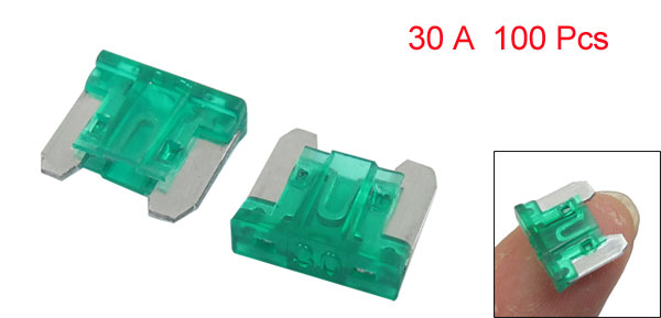 Car Truck Motorcycle Van 30A 30 AMP Flat Blade Fuse Green 100 Pcs w Case