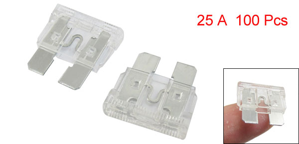 Motorcycle Taxi Truck Boat Auto Car Blade Fuse White 25A 100 Pcs