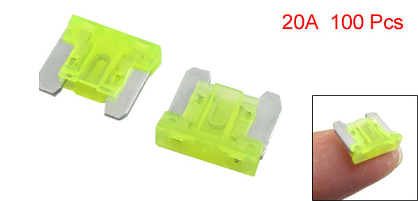 100 Pcs 20A Mini Car ATC Caravan Truck SUV Flat Blade Fuses Yellow Green w Case