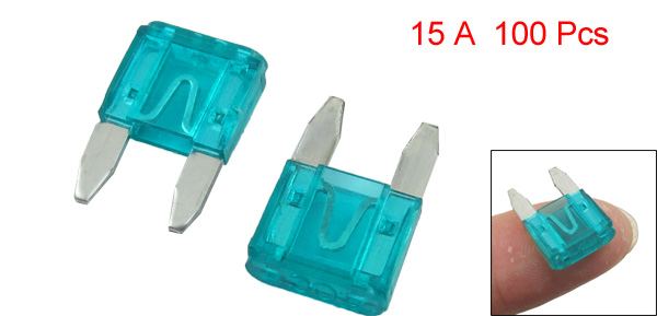 100 Pcs Automotive Car Boat Truck 15A Blade Fuse Blue w Case Holder