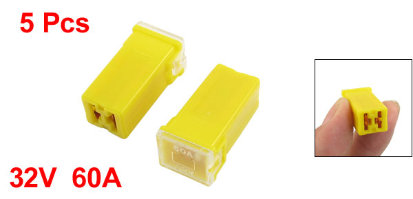Yellow 60A 32V J Case Female Adapter in Blade Cartridge PAL Fuse 5 Pcs