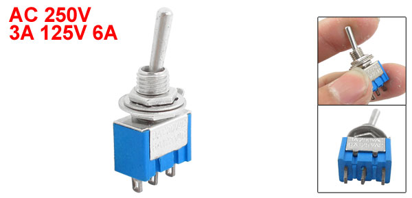 apAC 250V 3A 125V 6A SPDT On/On 2 Position Mini Toggle Switch