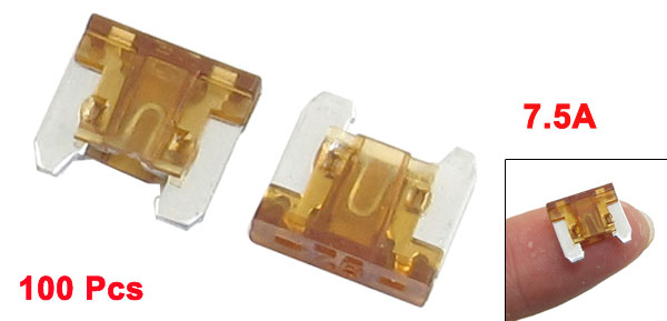100 Pcs 7.5A Mini Car Auto ATC Caravan Truck SUV Flat Blade Fuses Brown
