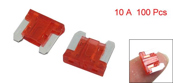 100 Pcs 10A Mini Car Auto ATC Caravan Truck SUV Flat Blade Fuses Red
