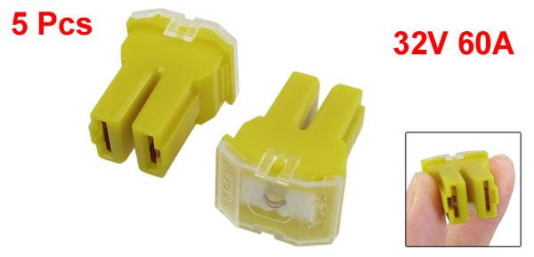 Car Yellow 60A J Case Female 32V Pacific Auto Link Slow Blow Fuse 5 Pcs