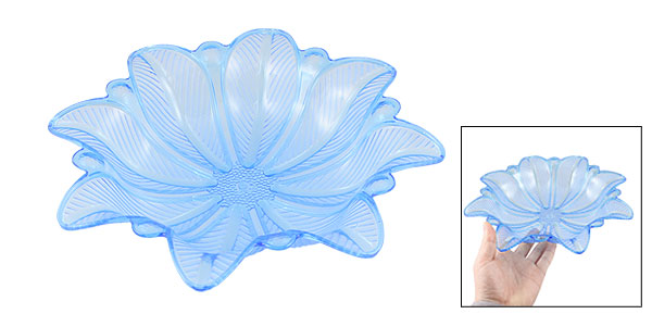 Home Family Clear Blue Plastic Flower Shaped Fruit Vegetable Plate Container