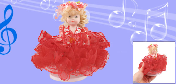 Beige Hair Red Skirt Decor Lovely Girl Wind up Clockwork Music Box Fur Elise