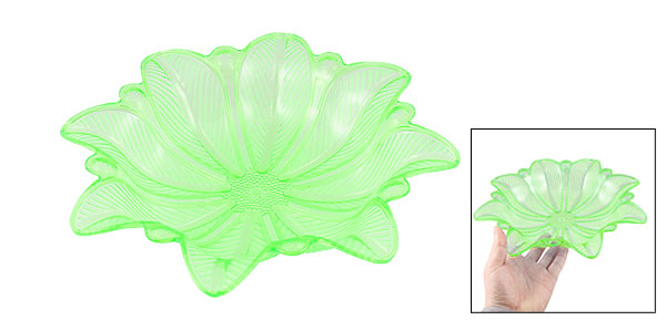 Home Family Clear Green Plastic Flower Shape Fruit Vegetable Plate Container