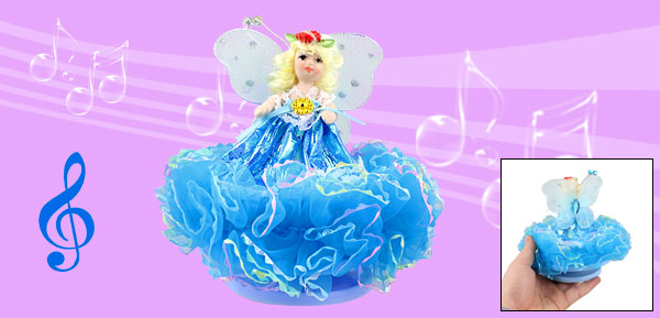 Blue Dress Butterfly Princess Design Wind up Clockwork Music Box Fur Elise
