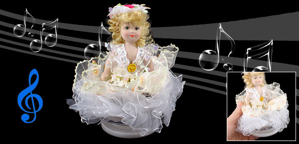 Beige Hair White Skirt Lovely Girl Wind up Clockwork Music Box Fur Elise